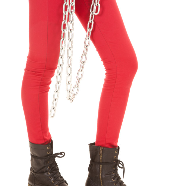 """woman legs in red pants chain"" stock image"