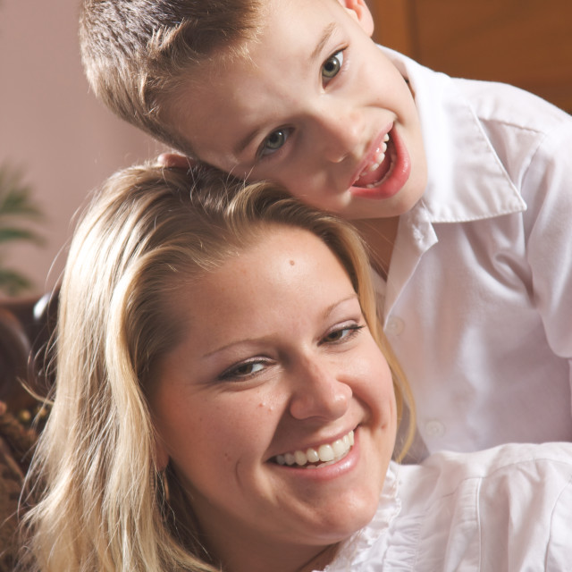 """""""Young Mother and Son Enjoying a Tender Moment"""" stock image"""