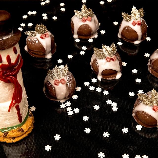 """""""Christmas Puddings and Snowman"""" stock image"""