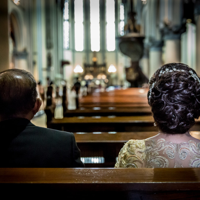 """Waiting for the ceremony to start"" stock image"