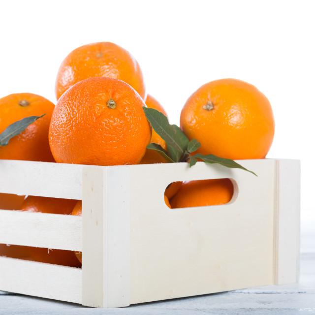 """""""Box of fresh oranges"""" stock image"""