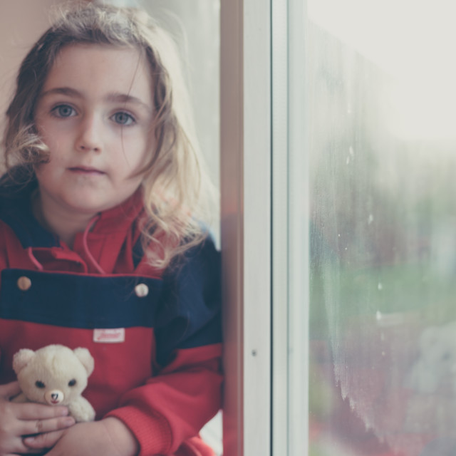 """Girl with teddy bear"" stock image"