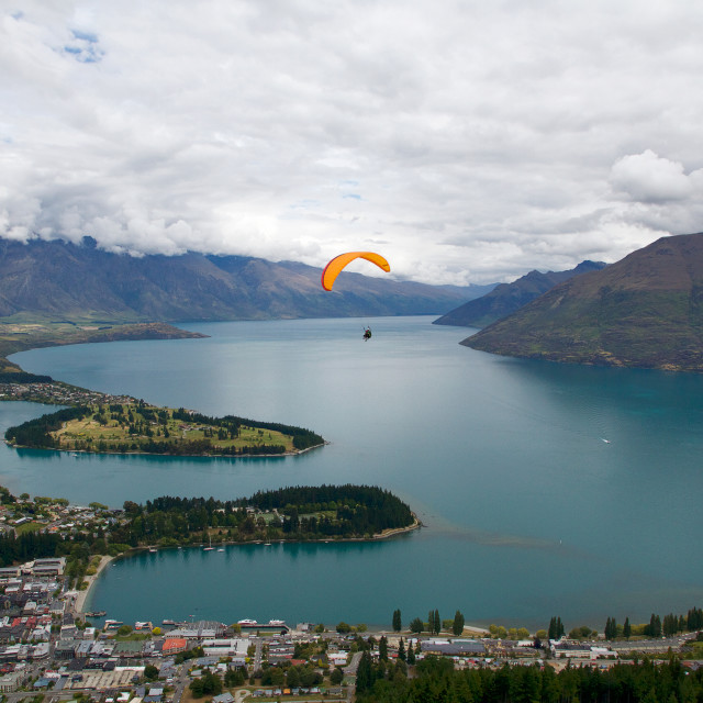 """Flying Over Queenstown"" stock image"