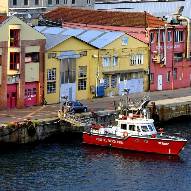 """""""Tug boat in the Port of Genoa"""" stock image"""