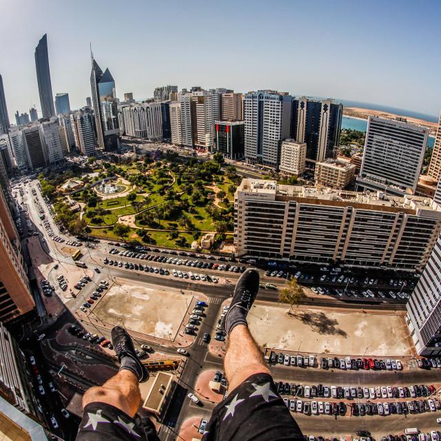 """""""Climbed my Hotel in Dubai..."""" stock image"""