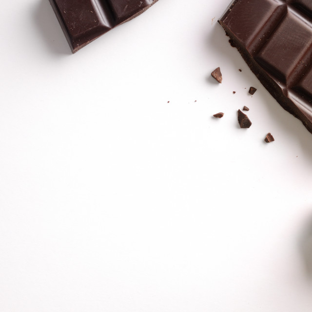 """""""Broken chocolate bar isolated top view"""" stock image"""