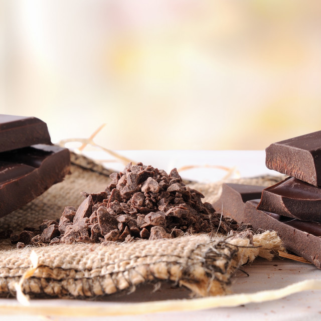 """""""Artisan chocolate broken tablet stack with portions and chunks h"""" stock image"""