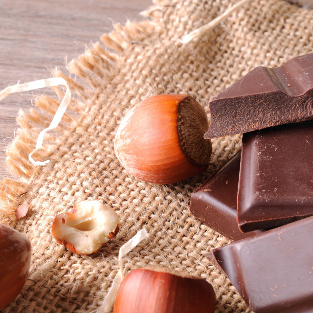 """""""Heap of artisan portions chocolate with hazelnuts elevated top v"""" stock image"""