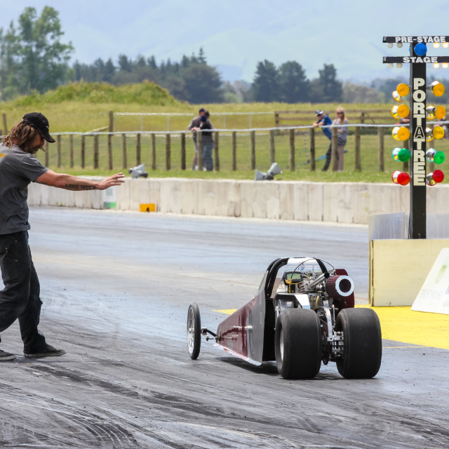 """junior drag car at start line."" stock image"