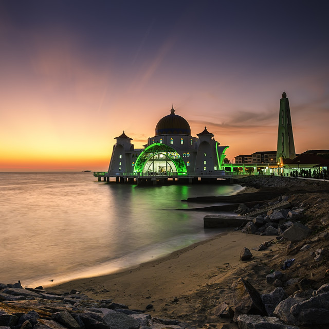 """Malacca Straits Mosque on sunset"" stock image"