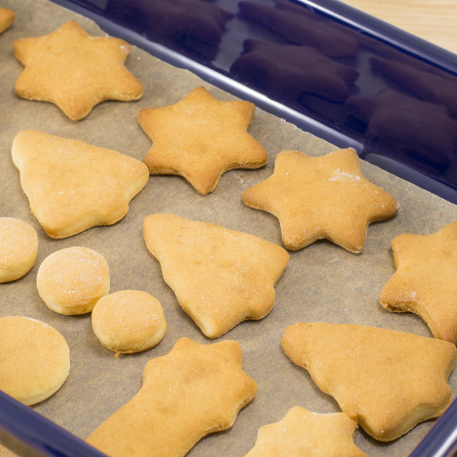 """Home baked and shaped Christmas cookies dessert"" stock image"