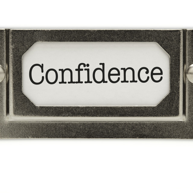 """Confidence File Drawer Label Isolated on a White Background."" stock image"