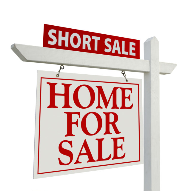 """Short Sale Real Estate Sign Isolated on White - Left Facing."" stock image"