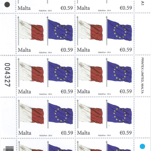 """Flags of the EU and Malta"" stock image"