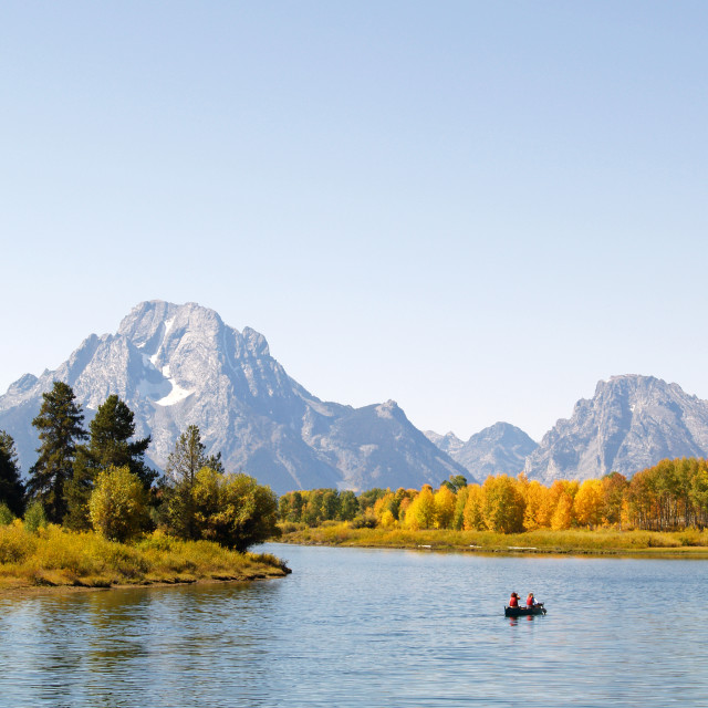 """Canoeists on the Snake River"" stock image"