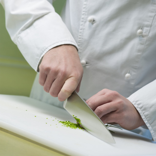 """cook is cutting vegetable"" stock image"