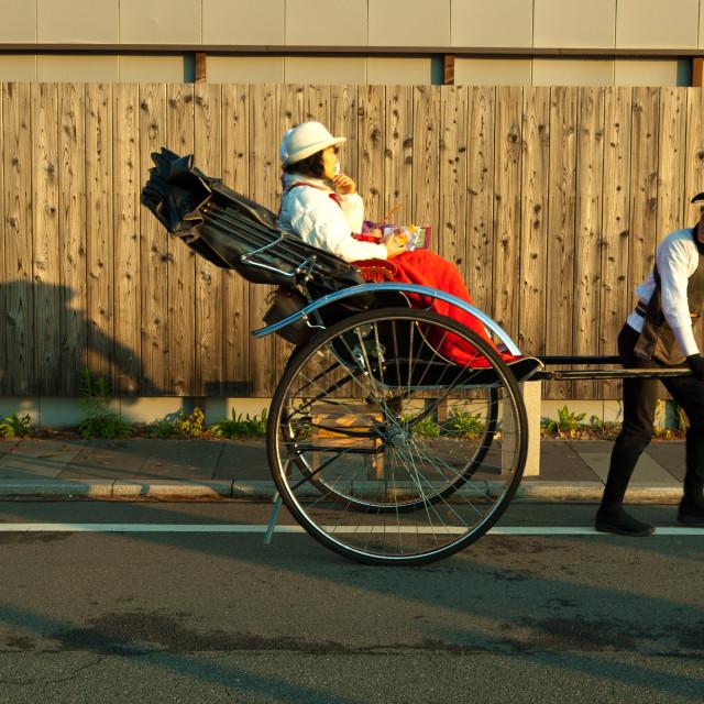 """Kyoto Arashiyama Rickshaw"" stock image"