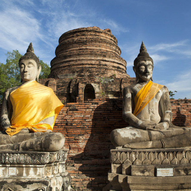 """Buddhas at Wat Yai Chai Mongkhon"" stock image"