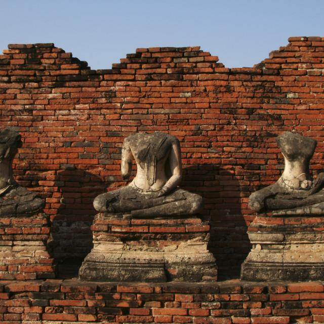 """""""Headless Buddhas at Wat Chaiwattanararam"""" stock image"""