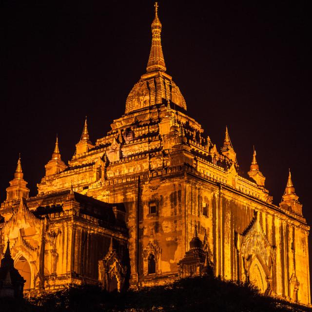 """Thatbyinnyu Temple Bagan at Night"" stock image"