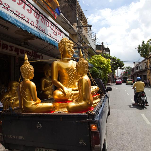 """Bangkok Buddha Street, Bamrung Muang Road"" stock image"
