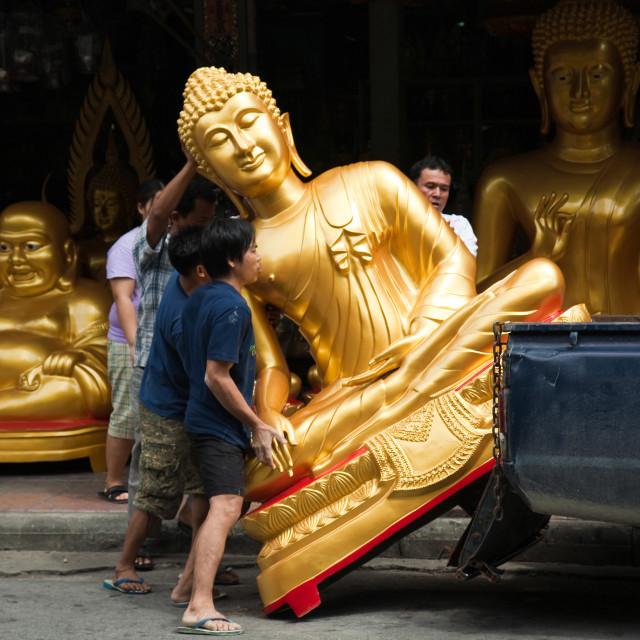 """Bangkok Buddha Street, Bamrung Muang"" stock image"