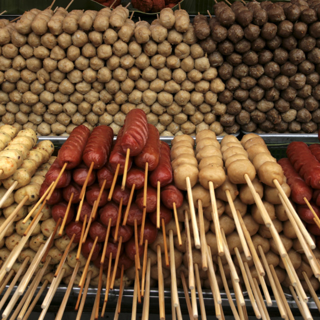 """Sausages and Hot Dogs at Chatuchak Market"" stock image"