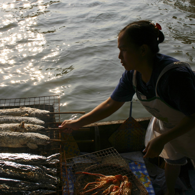 """Taling Chan Floating Market Grilled Fish, Bangkok"" stock image"