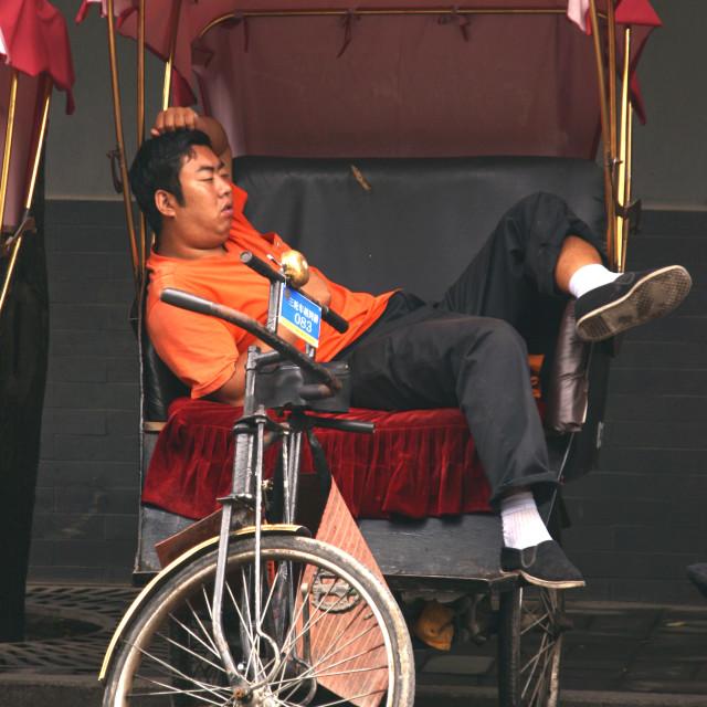 """""""Beijing Rickshaw Nap"""" stock image"""