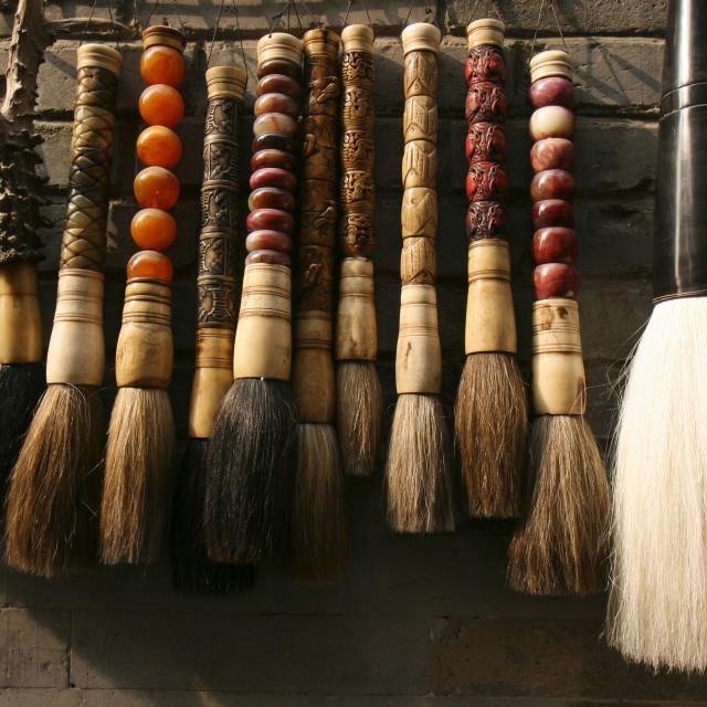 """Calligraphy Brushes at Liulichang Market, Beijing"" stock image"