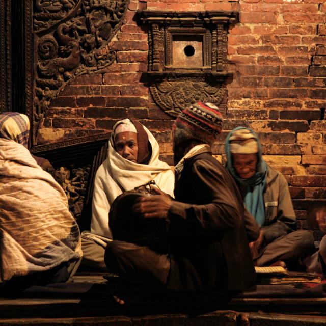 """Devotional Music, Bhaktapur"" stock image"