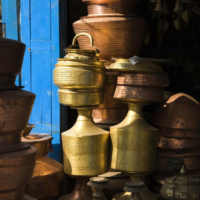 """Nepalese Brassware"" stock image"