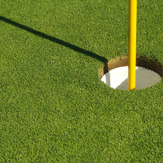 """Lush, Freshly Mowed Golf Green & Flag"" stock image"