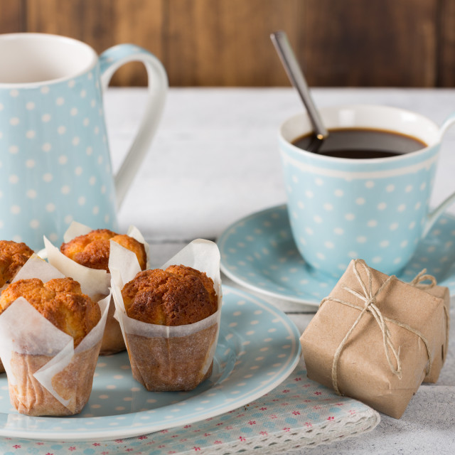 """Coffee with homemade muffins"" stock image"