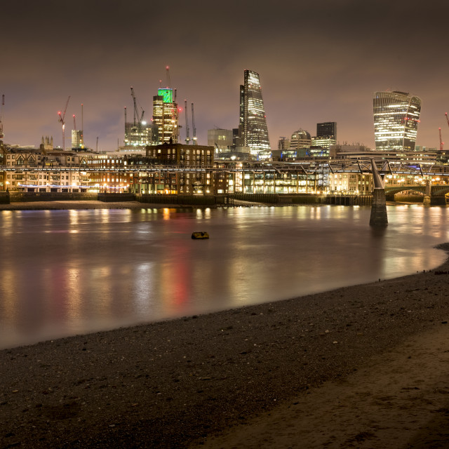 """London's southbank at night"" stock image"