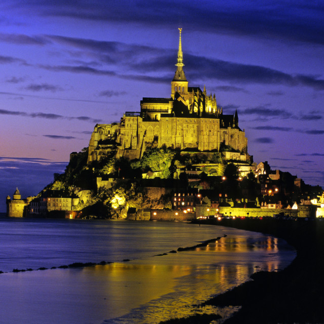 """Le Mont-Saint-Michel in the twilight"" stock image"