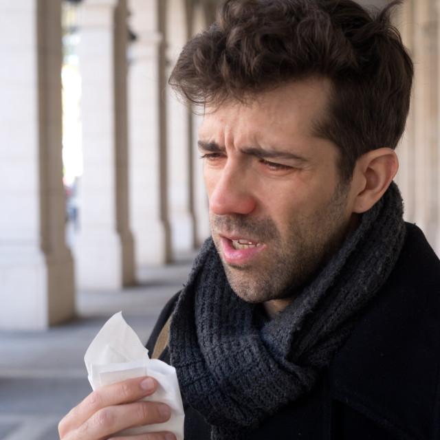 """""""Man sneeze and handkerchief"""" stock image"""