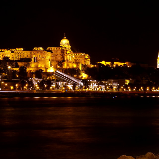 """Buda Castle at night"" stock image"