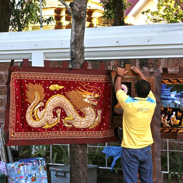 """Chiang Mai Sunday Market Tapestries"" stock image"