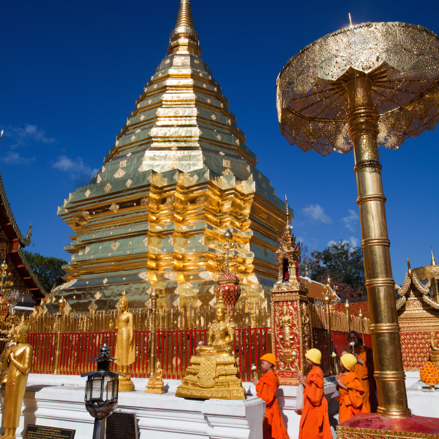 """Pilgrims at Wat Doi Suthep"" stock image"