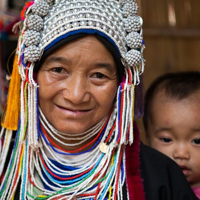 """""""Akha Woman and Child"""" stock image"""