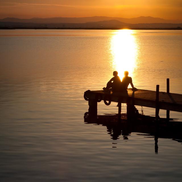 """Sunset on the Boardwalk."" stock image"