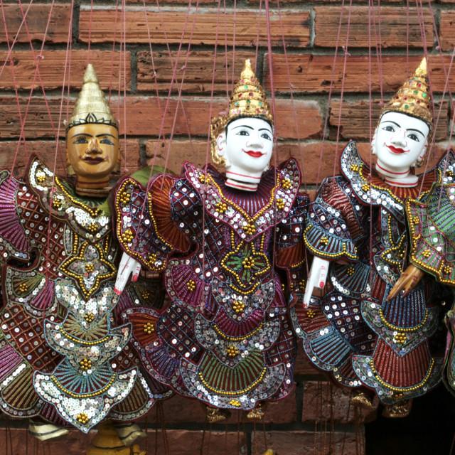 """Thai Puppets at Sunday Market, Chiang Mai"" stock image"
