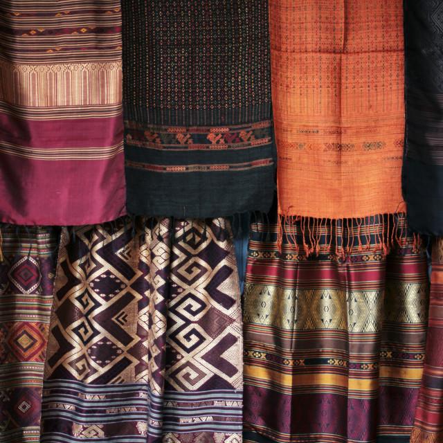"""Thai Silk Display, Chiang Mai"" stock image"