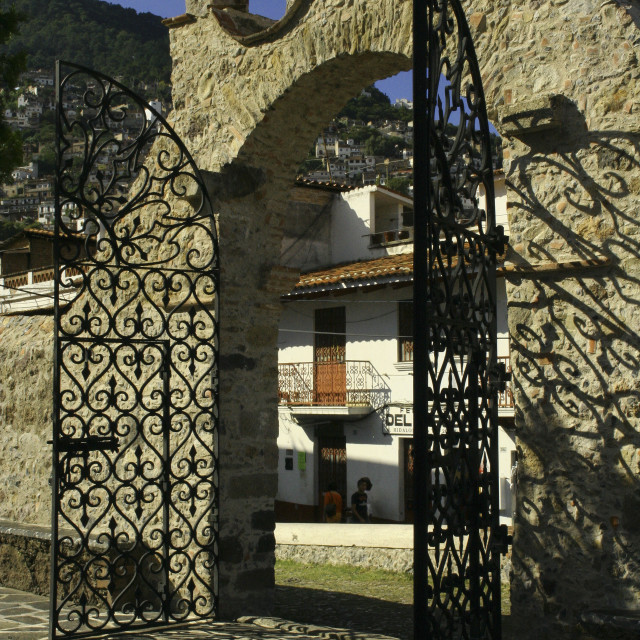 """Mexican Wrought Iron Gate Taxco"" stock image"