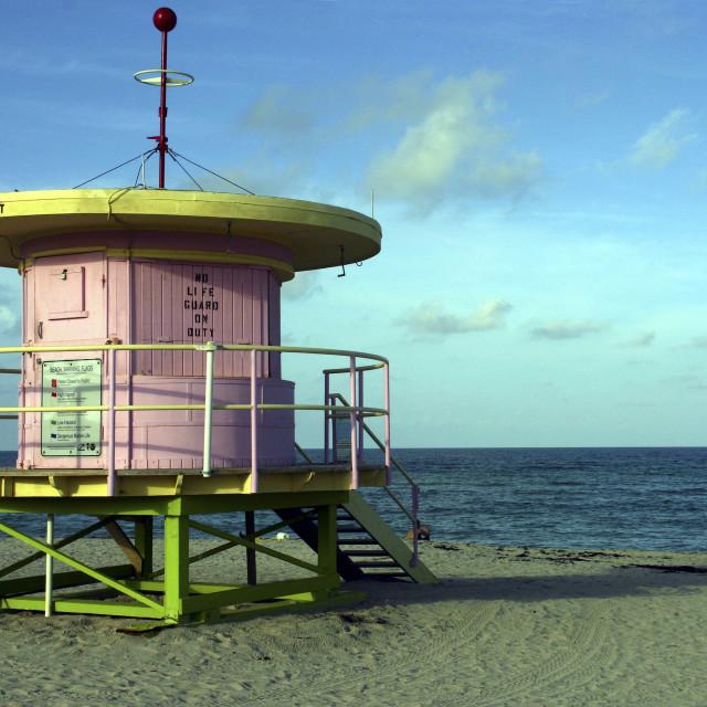 """South Beach Deco Lifeguard Hut"" stock image"