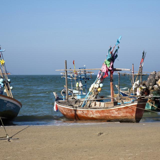 """""""Khao Tao Beach Boats"""" stock image"""