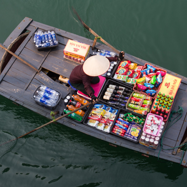 """Halong Bay Snack Boat"" stock image"
