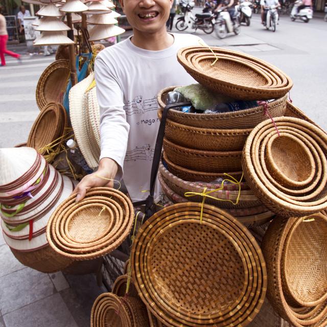 """Hanoi Basket Vendor"" stock image"