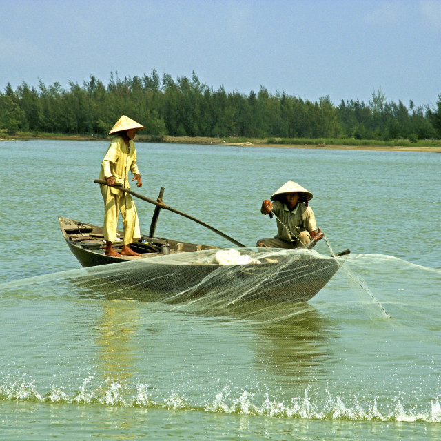 """Net Fishing on the Thu Bon River, Hoi An"" stock image"